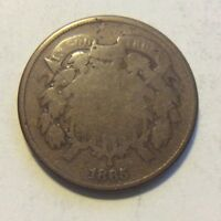 1865 TWO CENT PIECE I-468  SLIGHTLY ROTATED DIES