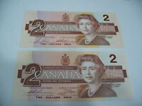LOT OF 2  1986   CANADA TWO 2 $  DOLLAR BILL  1986  SEE PHOTOS  LOT B  AUCTION