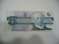 LOT OF 1  1986   CANADA ONE 5 $  FIVE  DOLLAR BILL  1986  SEE PHOTOS   AUCTION