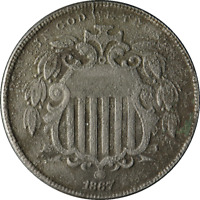 1867 WITH RAYS SHIELD NICKEL 5 CENTS HIGHER GRADE