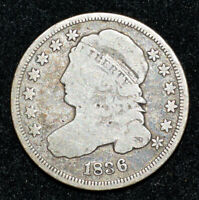 A 1836 CAPPED BUST DIME JR-1 R3 GOOD ORIG TONING BETTER VARIETY