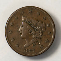 1837 CORONET HEAD 1C LARGE CENT  EARLY US COPPER LOTR130