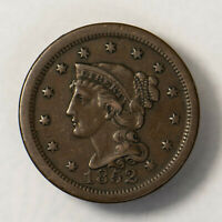 1852 BRAIDED HAIR 1C LARGE CENT   MID-GRADE  EARLY US COPPER LOTR138
