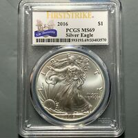 2016 $1 SILVER EAGLE, PCGS MINT STATE 69, FIRST STRIKE, 30TH ANNIVERSARY 50618