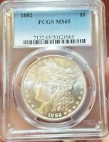 1882 P PCGS MINT STATE 65 BRIGHT SNOW WHITE GEM BETTER DATE INCREDIBLE MORGAN DOLLAR