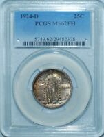 1924 D PCGS MINT STATE 62FH FULL HEAD STANDING LIBERTY QUARTER 25C