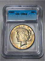 1927 PEACE DOLLAR $1 ICG MINT STATE 63 - COLORFUL RAINBOW TONING