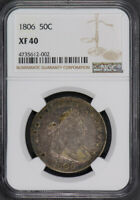 1806 50C DRAPED BUST HALF DOLLAR - POINTED 6, NO STEM - NGC EXTRA FINE  40 M466