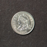 1837 CAPPED BUST SILVER 1/2D HALF DIME - HIGH GRADE COIN LOTB412