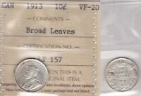 1913 ICCS VF20 10 CENTS BROAD LEAVES CANADA TEN DIME SILVER