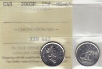 2003P ICCS MS65 10 CENTS  OLD EFFIGY CROWNED  CANADA TEN DIME