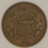 1869 TWO CENT PIECE; REPUNCHED DATE, FS-302 OLD 69/8;  VG