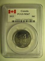 2013 PCGS MS67 50 CENTS CANADA FIFTY HALF DOLLAR SPECIAL CANADA LABEL