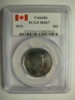 2014 PCGS MS67 50 CENTS CANADA FIFTY HALF DOLLAR W/ SPECIAL CANADA FLAG LABEL