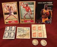 JUNK DRAWER LOT: 1917 D & S BUFFALO NICKELS SPORTS CARDS US POSTAGE STAMPS