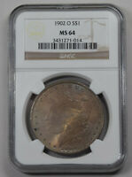 1902-O MORGAN DOLLAR NGC MINT STATE 64 DUAL PASTEL COLOR TONED