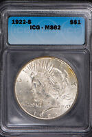 1922-S PEACE $1 SILVER DOLLAR  ICG MINT STATE 62   UNCIRCULATED