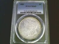 1882 P MORGAN SILVER DOLLAR,  PCGS MINT STATE 65 - BEAUTIFUL COIN WITH TONING AROUND RIM