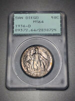 1936-D SAN DIEGO COMMEMORATIVE HALF 50C PCGS RATTLER MINT STATE 64 - ORIGINAL COLOR
