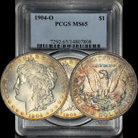 1904-O MORGAN DOLLAR $1 PCGS MINT STATE 65 - COLORFUL RAINBOW TONING