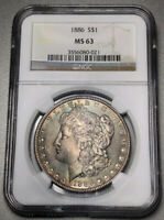 1886 MORGAN DOLLAR $1 NGC MINT STATE 63 - COLORFUL RAINBOW TONING