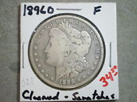 1896-O MORGAN SILVER DOLLAR/ CLEANED, SCRATCHES  {UNCERTIFIED}-SHIPS FREE