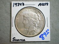 1934-D PEACE SILVER DOLLAR/  ORIGINAL UNCERTIFIED--SHIPS FREE