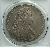 1728 RUSSIA PETER II SILVER RUBLE PCGS VF-35