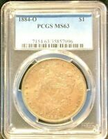 PCGS 1884-O MINT STATE 63 MORGAN DOLLAR, LIGHTLY TONED OBVERSE