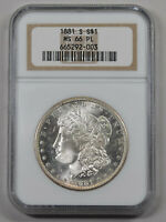1881-S MORGAN SILVER DOLLAR NGC MINT STATE 66PL PROOF LIKE LIGHT GOLDEN REV.