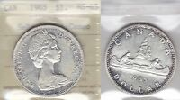 1965 ICCS MS65 $1 SMBDS PTD 5 CAMEO  TYPE 1 SMALL BEADS POINTED 5  CANADA SILVER