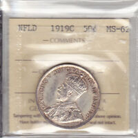 1919C ICCS MS62 50 CENTS NEWFOUNDLAND NFLD NF FIFTY SILVER HALF DOLLAR
