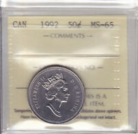 1992 ICCS MS65 50 CENTS CANADA FIFTY HALF DOLLAR