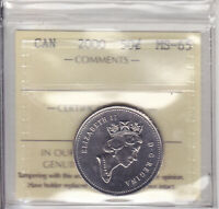 2000 ICCS MS65 50 CENTS CANADA FIFTY HALF DOLLAR