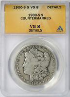 1900-S MORGAN DOLLAR $1 VG 8 DETAILS ANACS COUNTERMARKED