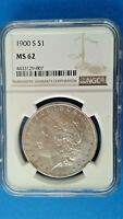 1900 S MORGAN SILVER DOLLAR NGC MINT STATE 62