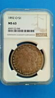 1892 O MORGAN SILVER DOLLAR NGC GRADED MINT STATE 63