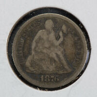 1876-S 10C SEATED LIBERTY DIME,  FINE DETAIL LOTN545