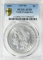 1884 $1 MORGAN SILVER DOLLAR VAM-3 LARGE DOT TOP 100 PCGS