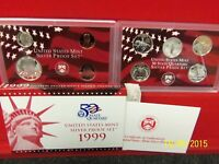 1999 S SILVER 9 COIN PROOF SET ORIGINAL    KEY