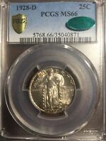 1928-D STANDING LIBERTY QUARTER PCGS MINT STATE 66 CAC CERTIFICATION. BEAUTIFUL COIN.