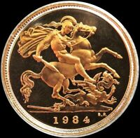 1984 GOLD GREAT BRITAIN 3.99 GRAMS PROOF 1/2 SOVEREIGN COIN