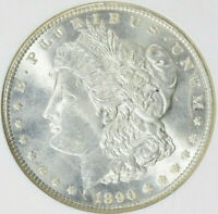 1890 MORGAN SILVER DOLLAR NGC MINT STATE 64 BRIGHT AND LUSTROUS-SHARP STRIKE