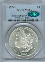 1897 S MORGAN DOLLAR PCGS MINT STATE 66 CAC - MICHIGAN COLLECTION PEDIGREE