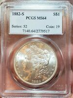 1882 S PCGS MINT STATE 64 SPARKLING FROSTY WHITE BEAUTY GEM MORGAN SILVER DOLLAR 517