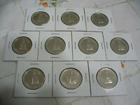 LOT OF 10 1967  CANADA  HALF  DOLLAR  SILVER  COINS  67  CENT  PIECE   WOLF