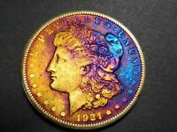 AUTHENTIC 1921 S MORGAN DOLLAR - SILVER COIN - ELECTRIC RAINBOW TONING M-19