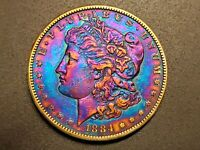 AUTHENTIC 1884 P MORGAN DOLLAR - SILVER COIN - ELECTRIC RAINBOW TONING M-22