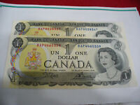 LOT OF 2  1973   CANADA ONE 1 $  DOLLAR BILL  1973   SEE PHOTOS  LOT B   AUCTION