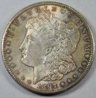 1897-S MORGAN SILVER DOLLAR BU BLUISH GOLD TONING